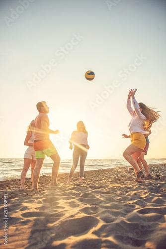 Group of friends enjoy on the beach - 257488917