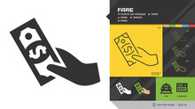 Vector Fare Black Glyph Silhouette And Editable Stroke Thin Outline Single Color Hand With Cash Money Payment Icon For Taxi Cab Service.