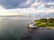 Aerial View Of Rose Island Lighthouse On Newport Harbor
