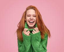 Bright Laughing Teenage Girl On Pink Background