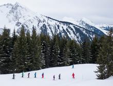 Ski School Students Following ...