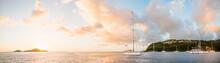 Sailboats Anchored In Sea, Bouillante, Basse Terre, Guadeloupe