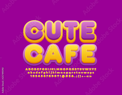 Vector colorful Sign Cute Cafe  Bright Violet and Yellow Font