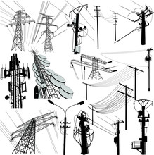 Silhouettes Of High Voltage Or Medium Voltage Poles And Gsm Communications With Electrical Transformers.  Power Tower Vector Format. Set Of Detaliled Pylon Structure Which Carry Electricity.