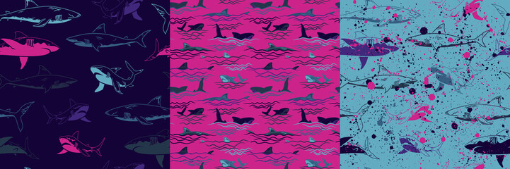 Set of Abstract seamless vector underwater pattern for girls, boys, clothes. Creative background with sharks. Funny wallpaper for textile and fabric. Fashion style. Colorful bright