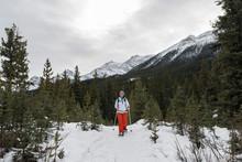 Woman Walking In Winter Forest