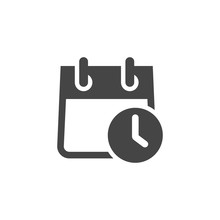 Calendar With Clock Flat Icon. Schedule, Agenda, Organizer, Accuracy, Countdown, Timer, Timetable, Time Management Concept. Vector Illustration Isolated For Web And App In Glyph Style