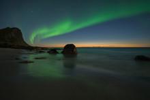 Myrland Beach At Night, Flakstadoya, Lofoten Islands, Norway