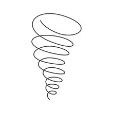 Tornado Spiral Continuous Line With Editable Stroke Isolated On White Background.