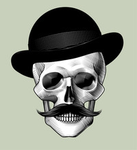 Human Skull Full Face With Black Hat And Mustache