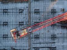 Aerial View Of Crane At Construction Site, Decatur, Georgia, USA