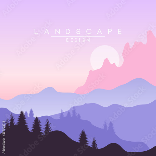 Foto auf AluDibond Flieder Beautiful peaceful natural landscape, mountainous terrain background for banner, flyer, poster and cover, vector ilustration