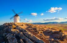 Spanish Windmills On Hill In Consuegra, Toledo, Spain.