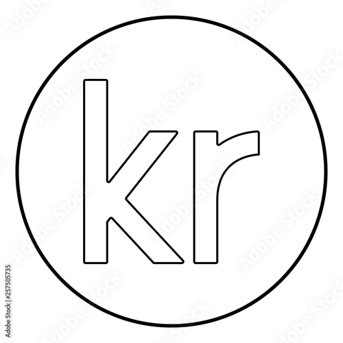 Fotografie, Obraz  Krone of Denmark Danish krone icon outline black color vector in circle round il