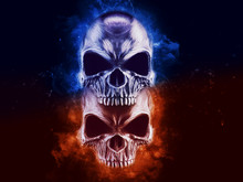 Two Angry Skulls - Blue And Orange Smoke