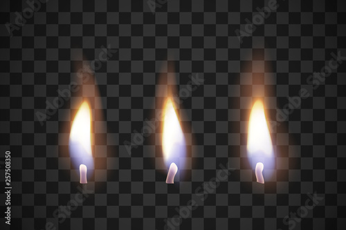 Obraz Realistic flame candles with the effect of transparency. Illustrations isolated on transparent background. Creative idea for your design - fototapety do salonu