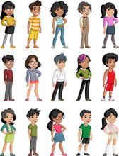 Group Of Cartoon Black Children. Teenagers.