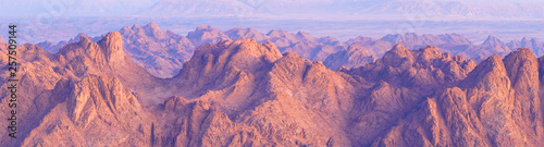 Foto op Plexiglas Purper Amazing Sunrise at Sinai Mountain, Beautiful dawn in Egypt, Beautiful view from the mountain