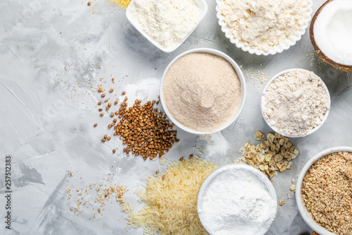 Vászonkép Gluten free concept - selection of alternative flours and ingredients, copy spac