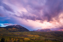 Sunset Over Mountains, Kebler Pass, Crested Butte, Colorado, USA
