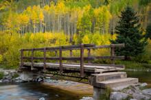 Wooden Bridge Over Maroon Creek, Aspen, Colorado, USA