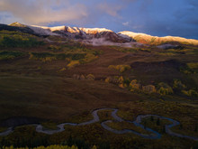 Scenery With Trees On Mountainside In Autumn At Sunset, Crested Butte, Colorado, USA