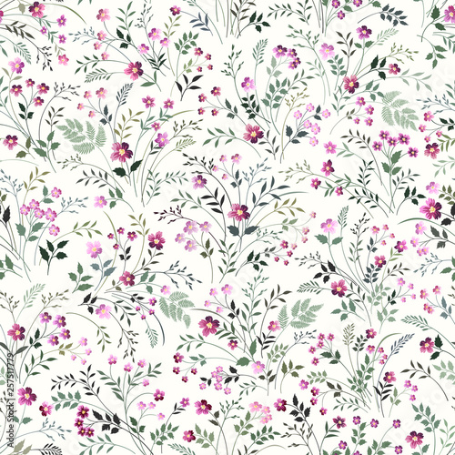 seamless floeal pattern with meadow flowers - 257517779