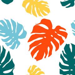 Bezszwowy wzór z monstera liśćmi. Jasny tropikalny tło.