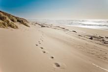 Footprints In The Sand On Bullards Beach, Oregon.