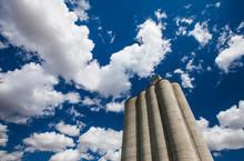 Grain Silos Under Blue Sky With Clouds, Palouse, Washington State, USA