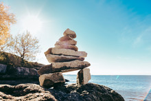 Inukshuk Rock Sculpture On A S...