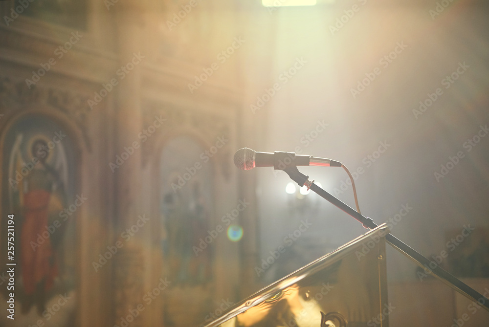 Fototapety, obrazy: microphone stands in the church near the altar before the priest's sermon