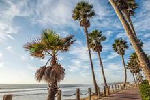 Mission Beach Boardwalk With Coastal View.