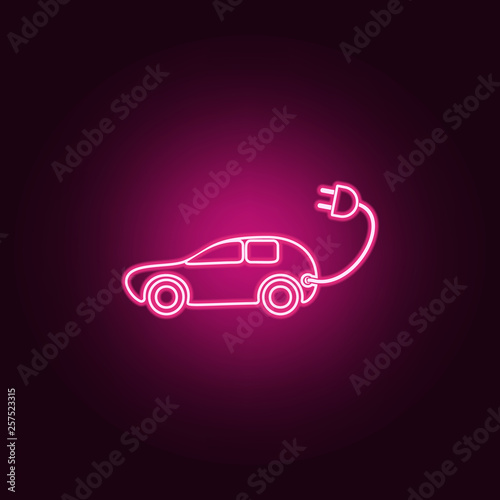 Electra car icon  Elements of Ecology in neon style icons