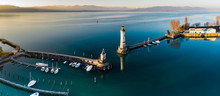 Aerial Panoramic View Of Lindau Harbour And The Austrian Alps, Lake Constance