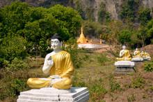 Row Of Buddha Statues In Garden Of One Thousand Buddhas Or Lumbini Garden In Hpa-An, Myanmar.
