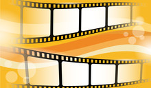 Film Strip Frame Isolated On Colorful Background. Creative Vector Illustration Of Old Film Strip Frame. Movie Time And Entertainment Concept. Cinema Festival Poster, Banner Or Flyer. EPS 10