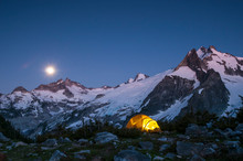 Glowing Tent At Dusk, In Mount...