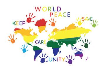 Kształty tęczy mapy świata w jasnych kolorach. Pokój, jedność, koncepcja opieki, drukuje kolorowe słowa na białym tle