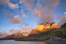 Cuernos De Paine At Sunrise In Torres Del Paine National Park
