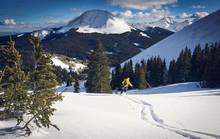 Skier Slides Down Slope In La ...