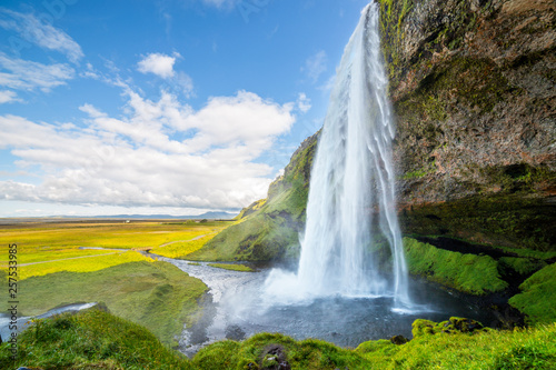 Montage in der Fensternische Himmelblau View of Seljalandsfoss one of most stunning waterfalls in Iceland