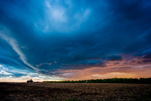 Dramatic Sky Over Field, Marsh...
