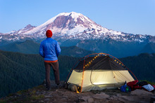 Hiker Portrait With Backpacking Tent And Mt Rainier