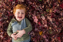 Happy Toddler Boy Laying Down In A Pile Of Red Leaves