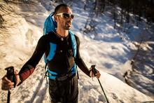 Man Ski Touring