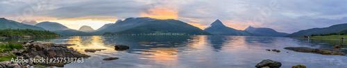 Foto op Canvas Zee zonsondergang sunset colors over the fjord on Senya island in Norway