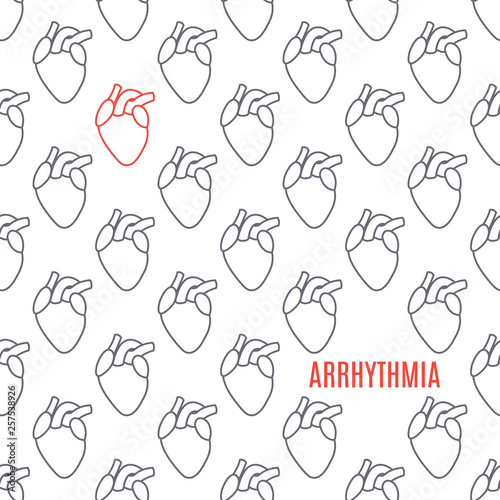 Cardiac arrhythmia disease awareness poster made in linear style on white background Wallpaper Mural
