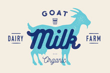 Milk, Goat. Logo With Goat Sil...