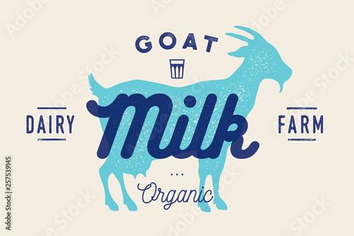 Fotomural Milk, goat. Logo with goat silhouette, text Milk, Dairy farm